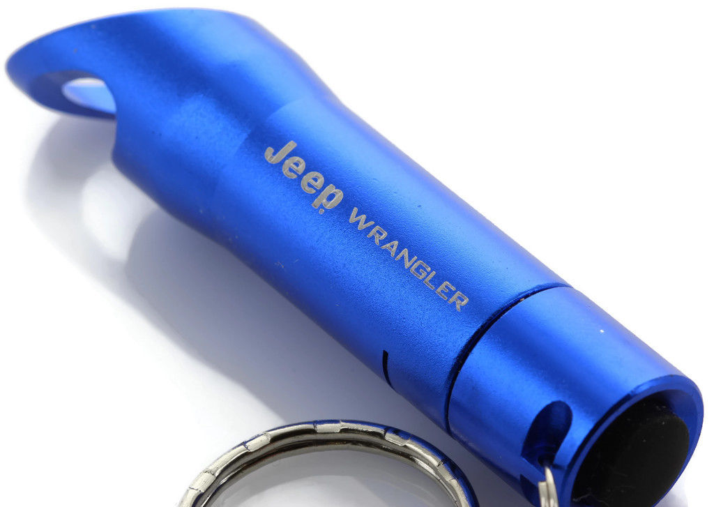 Blue Jeep Wrangler Mini Flashlight LED Bottle Opener Key Chain