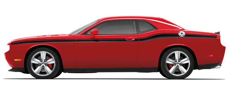 Mopar Matte Black Side Beltline Graphics 08-up Dodge Challenger