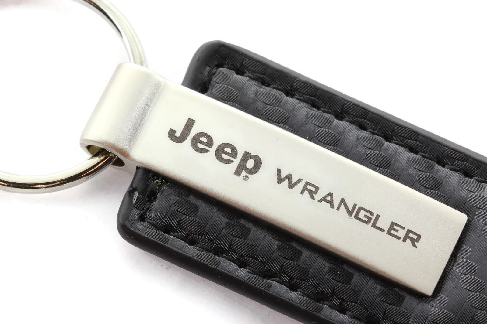 Jeep Wrangler Black Carbon Fiber Leather Authentic Logo Key Ring