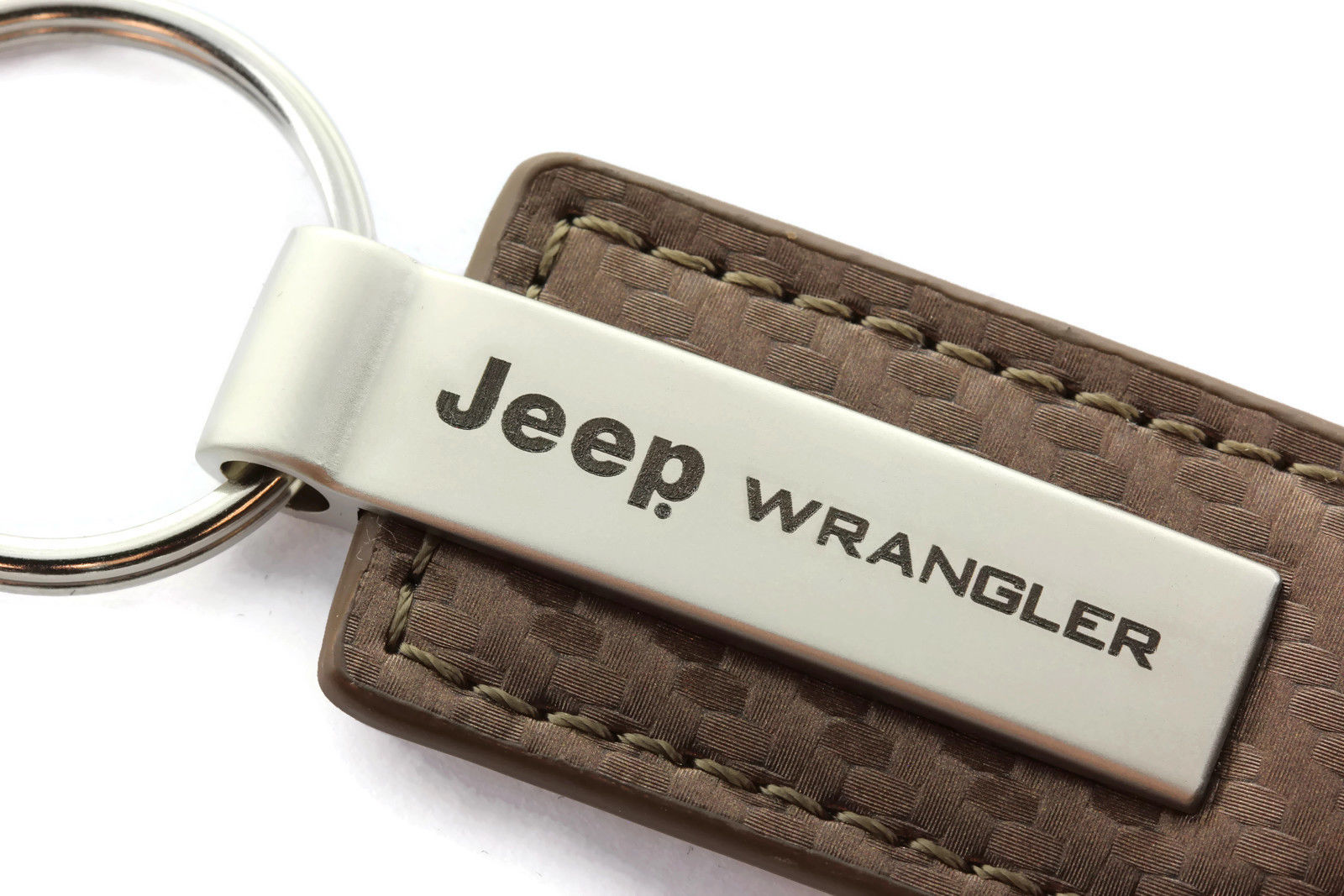 Jeep Wrangler Brown Carbon Fiber Leather Authentic Logo Key Ring
