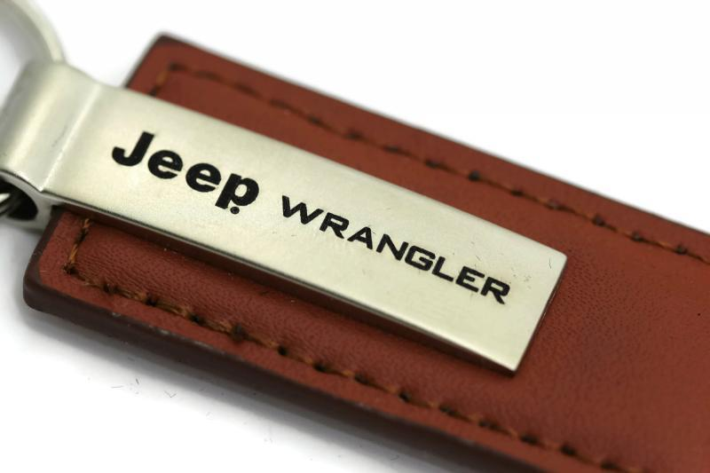 Jeep Wrangler Brown Leather Authentic Logo Key Ring