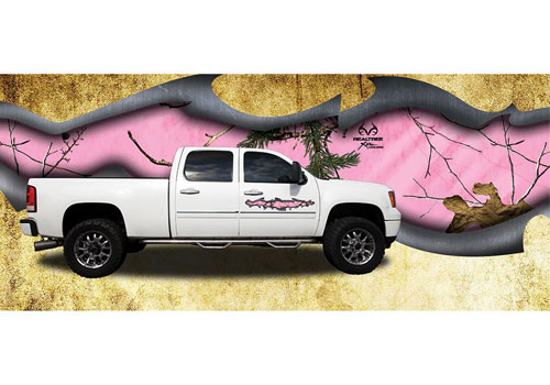 Pink Xtra RealTree Camo Torn Metal Graphic