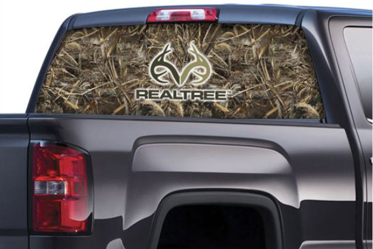 Max-5 Camo Pattern with Real Tree Logo Rear Window Graphics