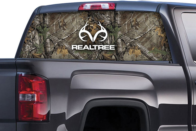 Xtra Camo Pattern with Real Tree Logo Rear Window Graphics