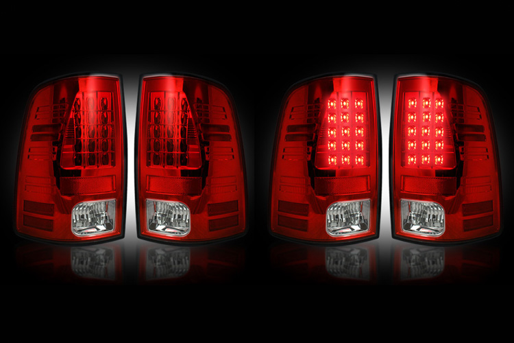 Recon Bright Red LED Tail Light Set 02-06 Dodge Ram