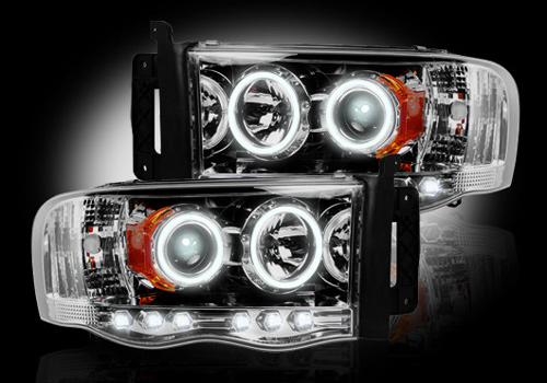 Recon Chrome Headlights with LED Halo & Daytime 02-05 Dodge Ram