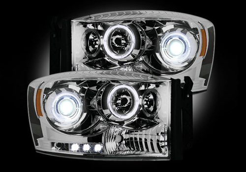 Recon Chrome Headlights with LED Halo & Daytime 06-08 Dodge Ram