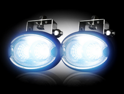 Recon Black Chrome Inside Clear Lens LED Oval Driving Lights