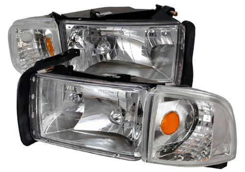 Spec-D Chrome-Clear Headlights 94-01 DODGE RAM