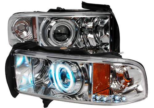 Spec-D Projector Chrome CCFL Headlights 94-01 DODGE RAM Sport
