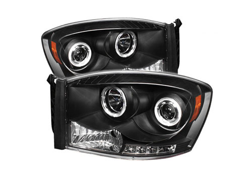 Spyder LED Projector Black Headlights 06-08 Dodge Ram