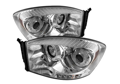 Spyder LED Projector Chrome Headlights 06-08 Dodge Ram