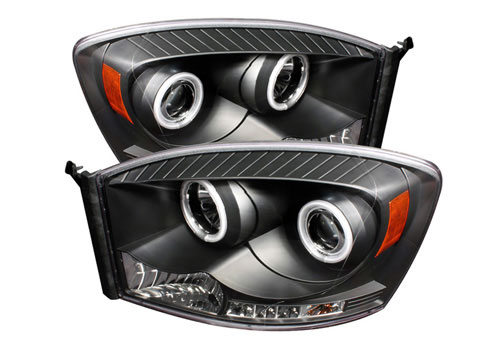 Spyder CCFL Projector Black Headlights 06-08 Dodge Ram