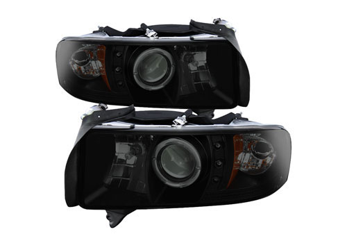 Spyder Projector Black-Smoked LED Headlights 94-01 Ram Non-Sport
