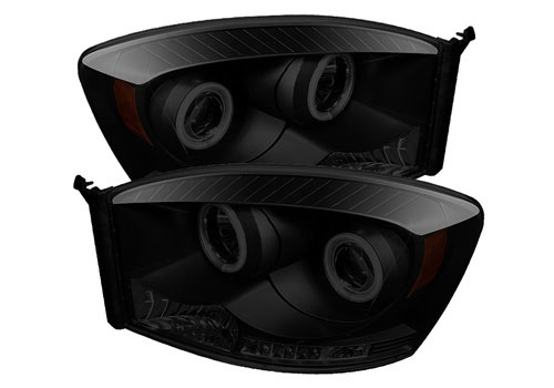 Spyder CCFL Projector Black-Smoked Headlights 06-08 Dodge Ram