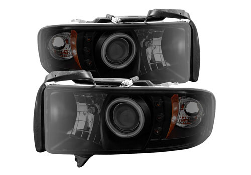 Spyder Projector Black-Smoke CCFL Headlights 94-01 Ram Non-Sport