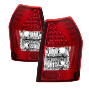 XTune Red Clear LED Tail Light Set 05-08 Dodge Magnum