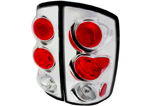 Spec-D Chrome Housing Clear Lens Tail Lights 02-06 Dodge Ram