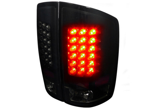 Spec-D Black Housing Smoked LED Tail Lights 02-06 Dodge Ram