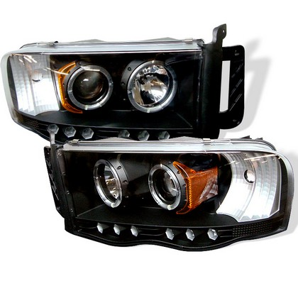 Spyder LED Projector Black Headlights 02-05 Dodge Ram
