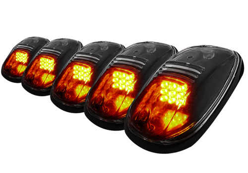 Spec-D 5PC Smoked Lens Amber LED Universal Roof Cab Light Kit