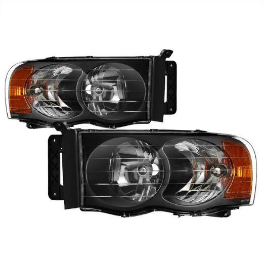 Spyder Black Crystal Headlights 02-05 Dodge Ram