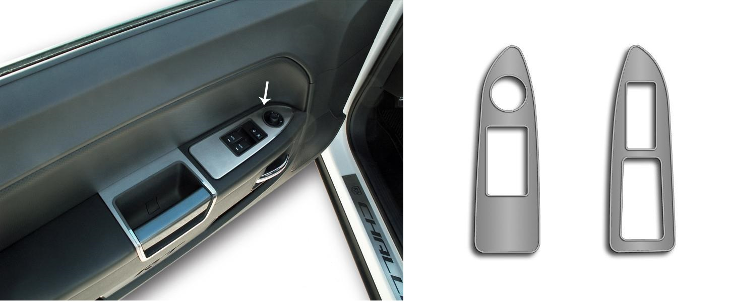 Brushed Stainless Door Switch Covers 08-14 Dodge Challenger