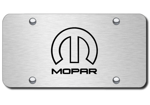 Au-Tomotive Gold MOPAR Emblem Brushed License Plate