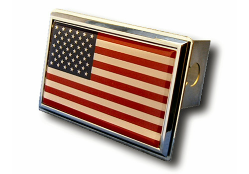 Au-Tomotive Gold American Flag Chrome Hitch Plug