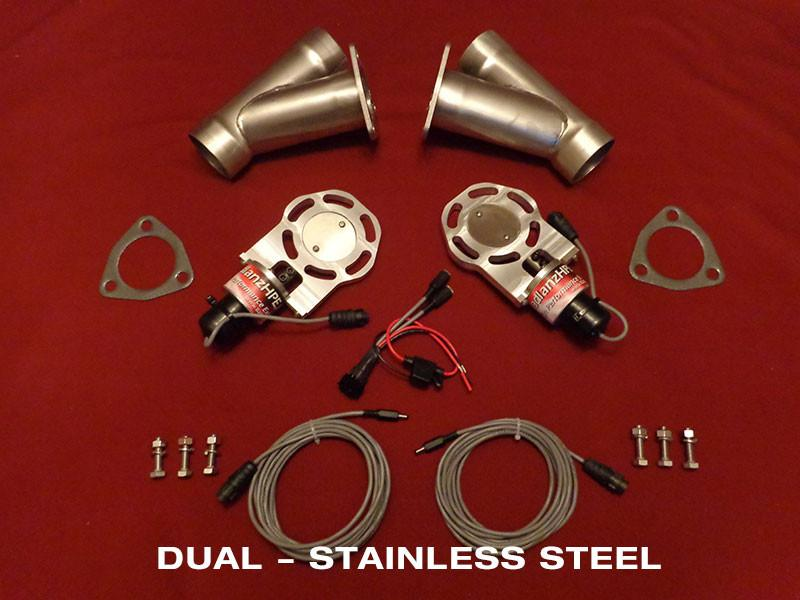 "Badlanz HPE Dual 2.5"" Electric Exhaust Cutout Stainless Y Kit"