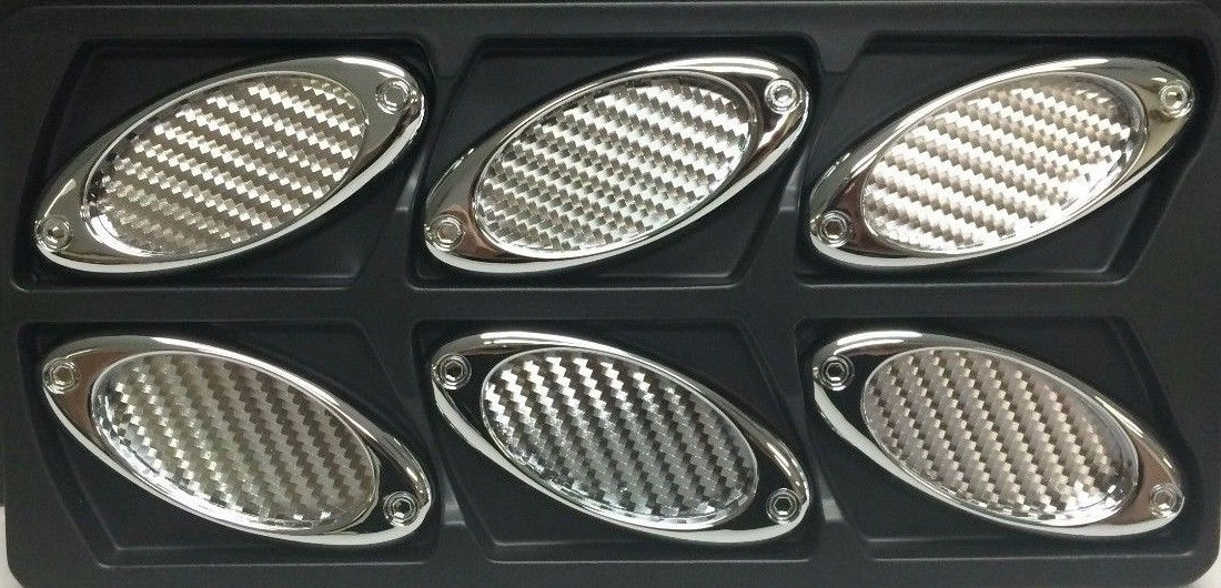 Silver Carbon Fiber Stick-On Oval Style Side Vents 6 Piece Kit