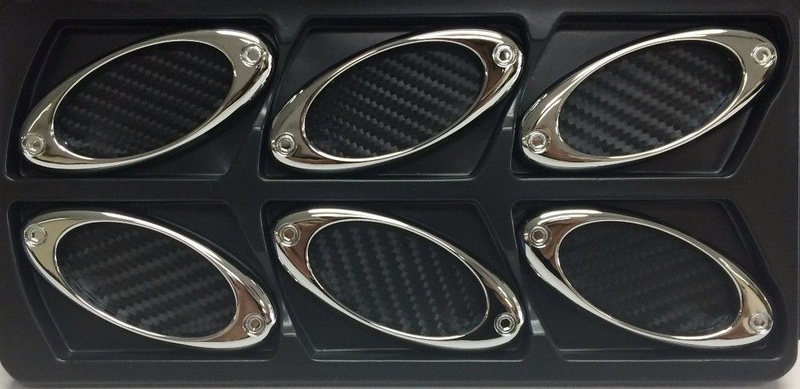 Black Carbon Fiber Stick-On Oval Style Side Vents 6 Piece Kit
