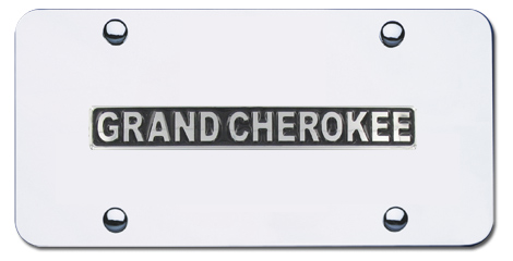 Au-Tomotive Gold Grand Cherokee Logo Chrome License Plate