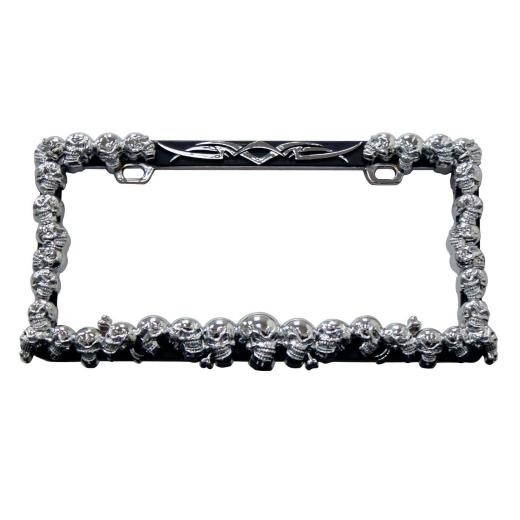 Pilot Multiple Skull License Plate Frame